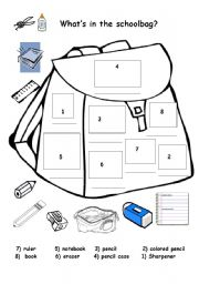 English Exercises: Classroom Items