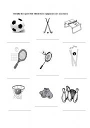 English worksheets: Sports equipments