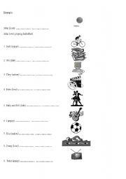 English worksheets: I love playing basketball