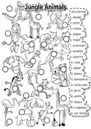 Jungle animals worksheets