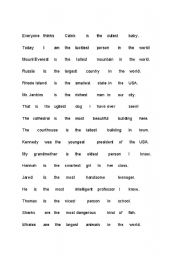 English worksheets: Superlatives Sentence Scramble Game