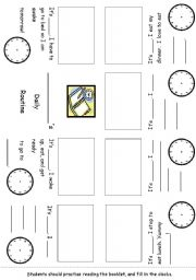 Editable Time and Daily Routines with Elmo Minibook #3 of