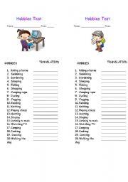 English worksheets: Hobbies Test