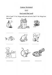 English worksheets: Good and bad smell.