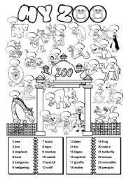 English Exercises: zoo animals