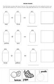 English worksheets: Mixing Colors