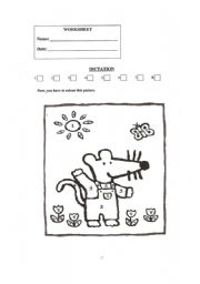 English worksheets: Dictation of the colours