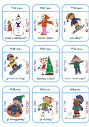 Winter Activities Card Game
