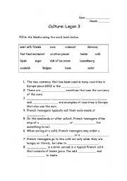 English Worksheets Cafe Culture Worksheet