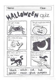 Halloween quiz worksheets