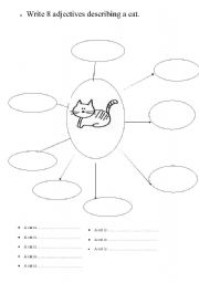 English worksheets: Describe a cat in eight words