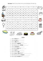English worksheets: Food letter soup