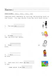 English Worksheets Phonograms All Ell Ill Oll