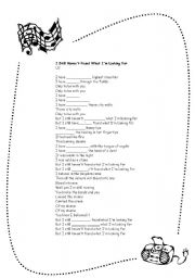 Present perfect song worksheets