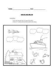 English worksheets: Above and Below