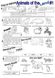 Animals reading worksheets