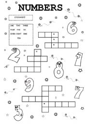 Numbers crossword worksheets
