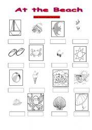 English worksheets: At the Beach vocabulary writing sheet