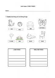 English worksheets: Living things