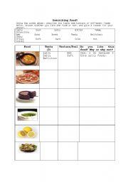 Describing Food Worksheets