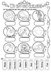 Sea animals worksheets