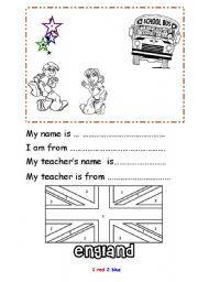 MY NAME ISMY TEACHER´S NAME ISI AM FROMMY