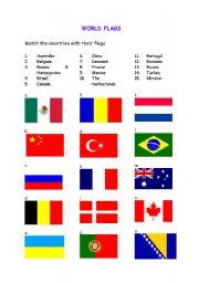 English Worksheets World Flags