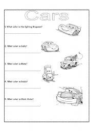 Cars worksheets