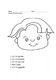 English worksheets: Parts of face boy