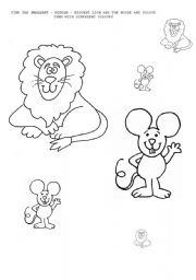 The Lion and the Mouse worksheets