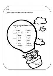 English worksheets: interrogative words matching