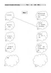 English worksheets: why/because matching worksheet