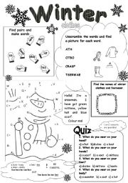 Winter clothes worksheets