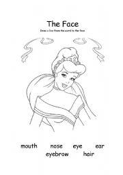 English worksheets: Princess Face worksheet