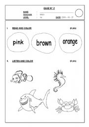 English worksheets: SEA ANIMALS 1ST GRADE TEST