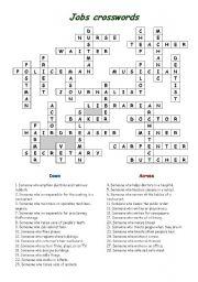 Jobs crossword worksheets