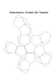 English worksheets: Dodecahedron Dice Template