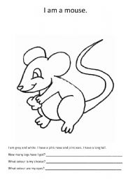 English worksheets: A mouse to colour