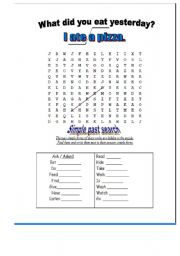 English worksheets: simple past tense