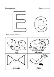English worksheets: letter Ee