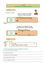 Comparative Of Equality Worksheets