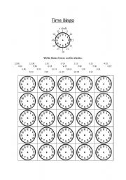 Time bingo worksheets