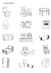 Color the furniture and match the furniture with the rooms