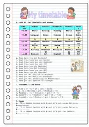 My Timetable Worksheets