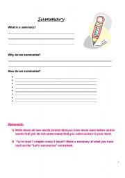 English Worksheets Summarising