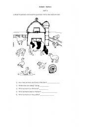 Animals test worksheets