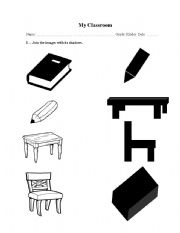 English worksheets: Matching classroom images