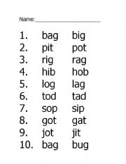 English worksheets: Medial Short Vowel Sound Choice: a, i