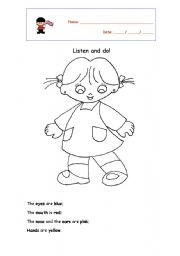 English worksheets: Listen and do