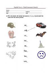 English worksheets: Final Consonant Sounds (/t, /b, /p, /d)